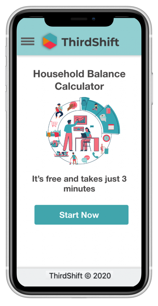 Image of mobile device showing ThirdShift Household Balance Calculator