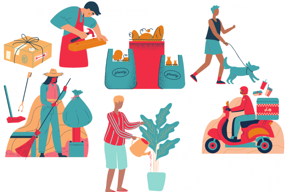 Outsourcing household Services image showing deliveries, groceries, a dogwalker, gardener, and food delivery