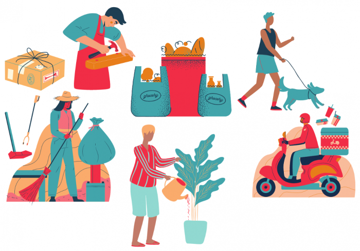 Outsourcing household Services showing deliveries, groceries, a dogwalker, gardener, and food delivery