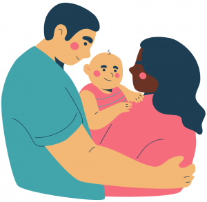 Image of mother and father with a baby