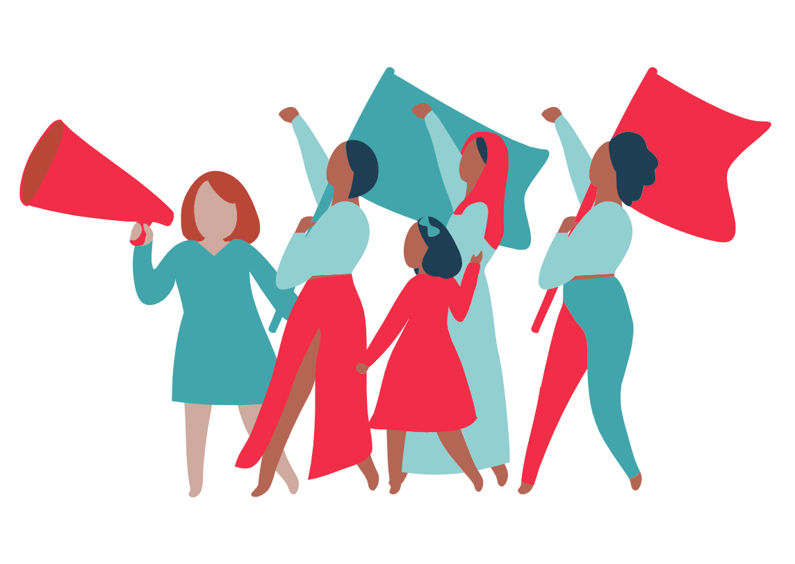 Women's movement protesting for fair pay