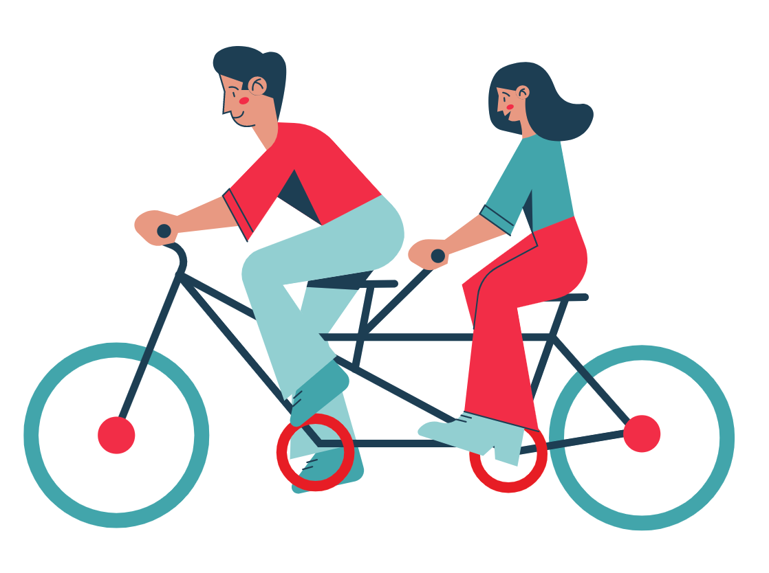 Couple riding a two-seater bike together